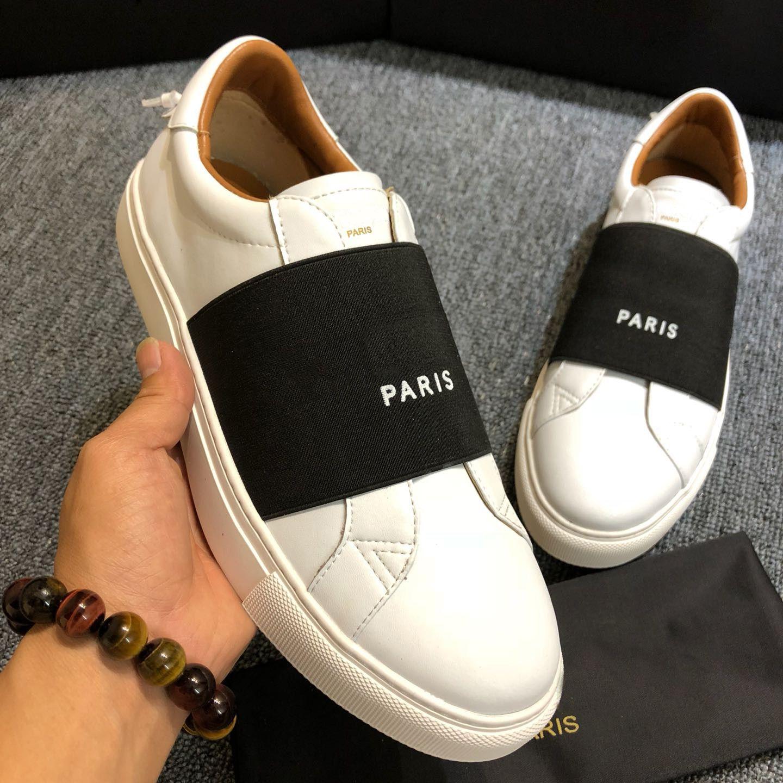 새로운 파리 남성 여성 플랫폼 트레이너 캐주얼 신발 슬립 온 스니커즈 컴포트 가죽 남성 여자 레저 드레스 CHAUSSURES