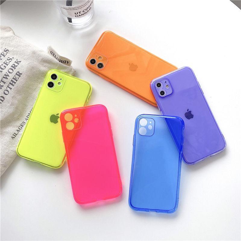 جديد iPhone 12 12Pro 12Pro 13mini لون الفلورسنت كله غطت حالة حماية الكاميرا دقيقة لفون × 11 7 8