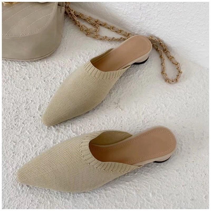여성 플랫 슬리퍼 패션 니트 직물 슬라이드 니트 직물 뾰족한 발가락 슬립 온 여성 로퍼 여성 봄 신발