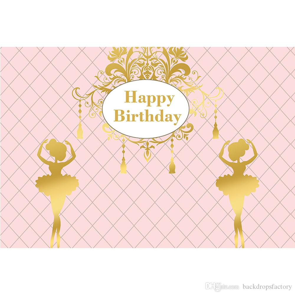 Customized Happy Birthday Backdrop Pink Color Printed Ballet Girls Newborn Baby Shower Prop Kids Party Themed Photo Background