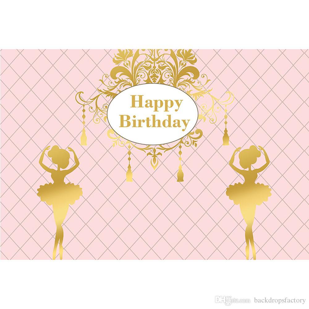 Personnalisé Joyeux Anniversaire Toile De Fond Rose Couleur Imprimé Ballet Filles Nouveau-Né Bébé Douche Prop Enfants Partie Thème Photo Fond