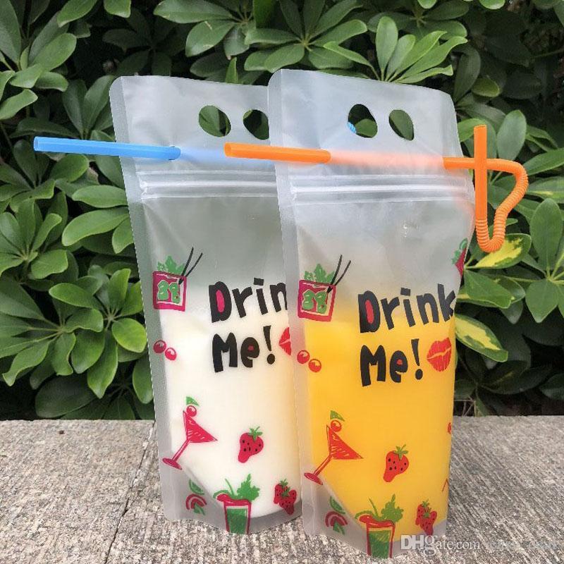 500ml jus de boisson portable Sac boissons Emballage Sac de fleur de thé Sac en plastique Milkshake de soja Zipper Sacs ZC1800