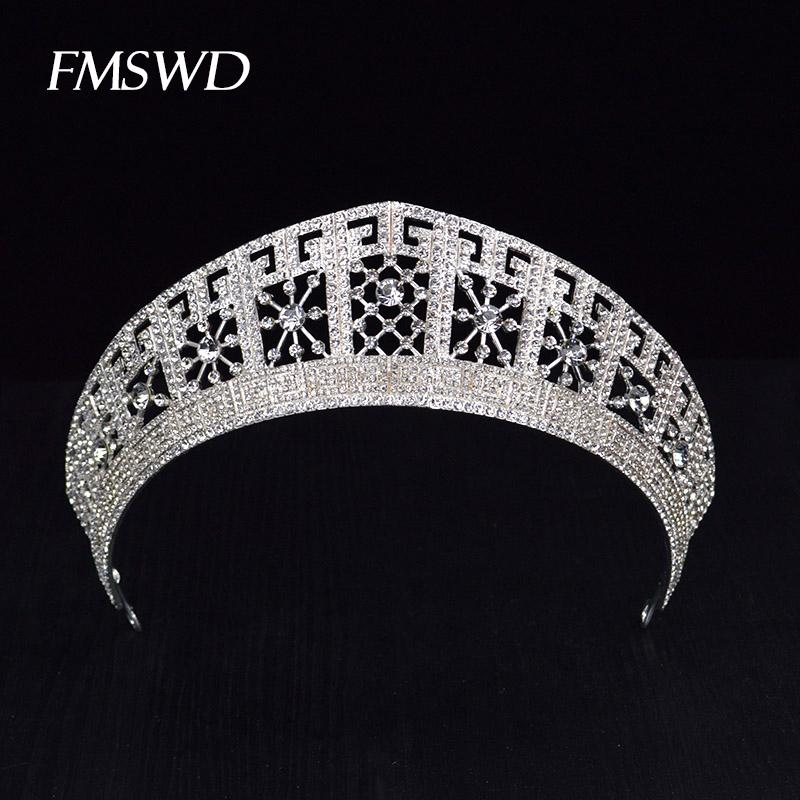 luxury Trendy Gold Silver Color Big Tiaras Bride Crystal Rhinestone Shiny Crowns For Wedding Prom Hair Jewelry Accessories C18112001