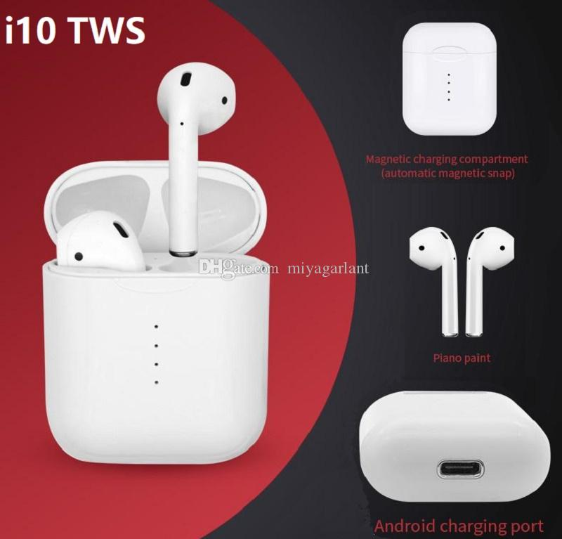 I10 TWS Wireless Earbuds Earphone Support Bluetooth Headphones Charger  Sports Stereo With Mic Charger Case For IPhone Samsung Mobile Headsets