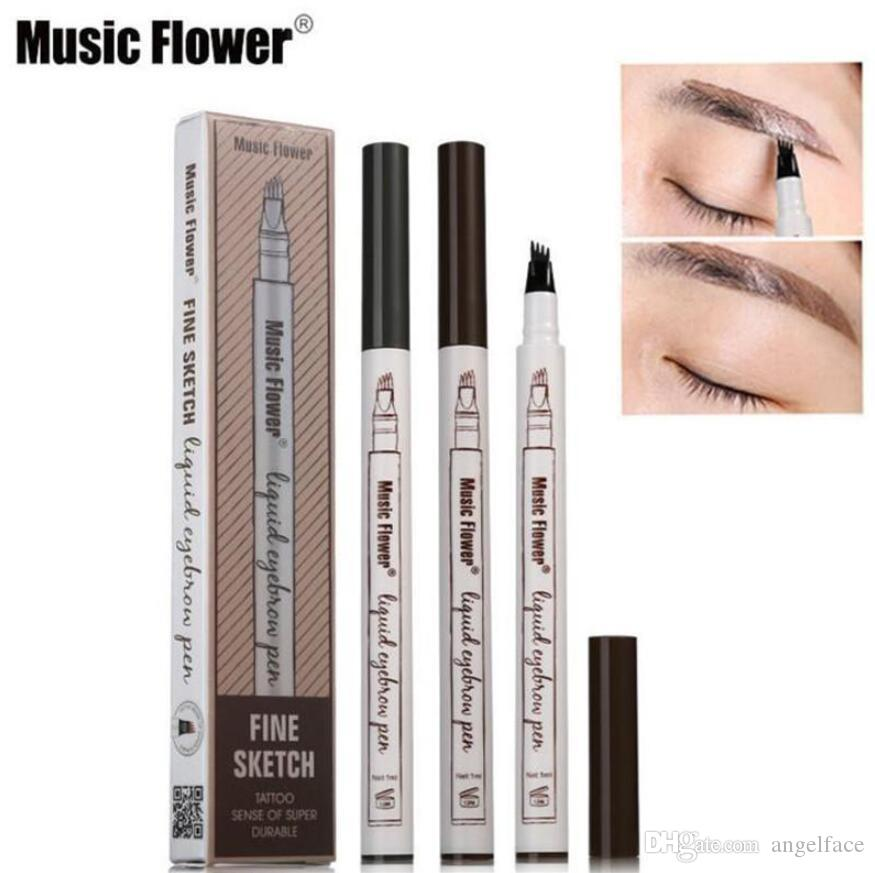 새로운 도착 음악 꽃 액체 눈썹 펜 음악 꽃 눈썹 증강 3 색 네 머리 눈썹 증강 방수 오래 지속