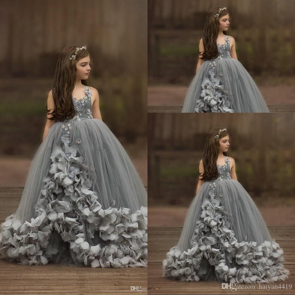 New Lovely Gray Puffy Girls Pageant Dresses Spaghetti Straps Hand Made Flowers Beaded Tulle Sleeveless Kids Flower Girls Birthday Gowns