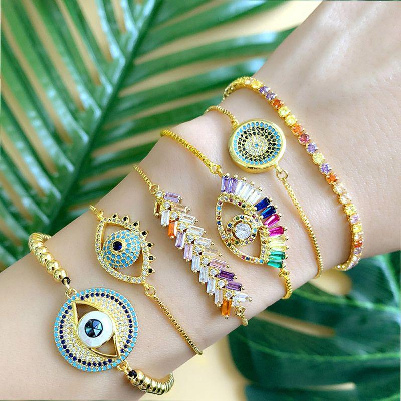 Projeto turco Mal Eye Pulseira para mulher CZ-íris Tennis Bracelet 24K Charme Gold Stone jóias de ouro