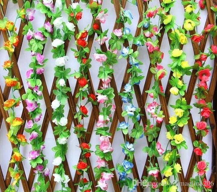 220 CM Artificial flor de rosa vid Artificial flor de seda de ratán con hojas verdes Home Garden Party boda decoraciones DIY guirnalda