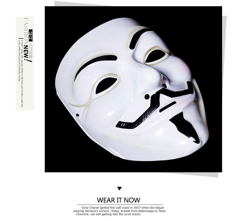 Máscara novo Partido Fancy Dress Costume Adult Acessório Mascaras Halloween O V for Vendetta Partido Cosplay Masque