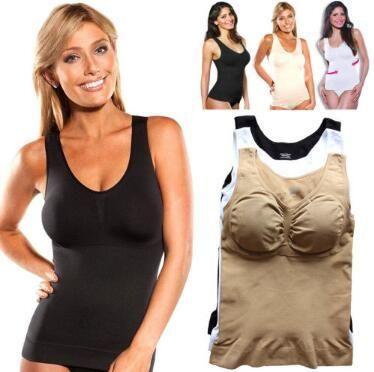 Mulheres Regatas Cami Corpo Shaper removíveis Pads Genie Bra Shapewear Genie Bra Camisoles Slimming Regatas fz0051
