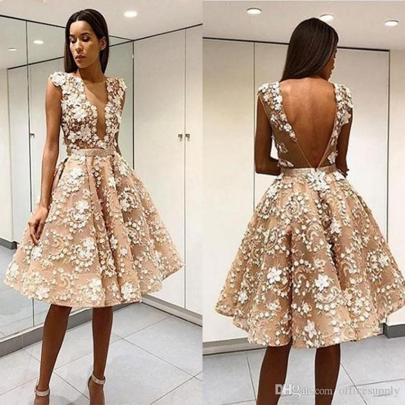 Elegant Robe De Soiree Champagne Short Cocktail Prom Dresses Sexy Open Back Lace Applique Knee-Length Tulle Formal Homecoming Party Dresses