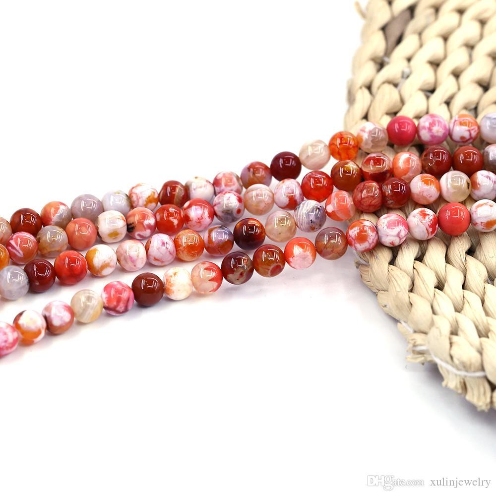 Orange Ice Burst Agate perle pierre lâche usine de perles rondes en pierre mèche de 15 pouces par ensemble