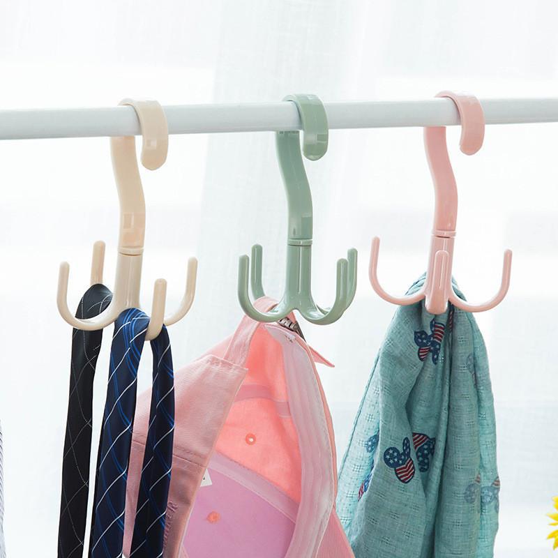 Any Angle Rotation Closet Organizer Rod Plastic Hanger Clothes Ties Bag Belt Closet Hanger Hanging Rack Storage Hook