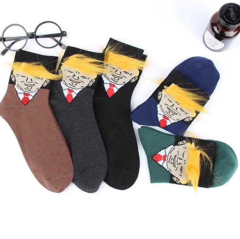американский президент портрет унисекс хлопок рождественские носки чулки шлангами с 3D искусственного поддельные волосы