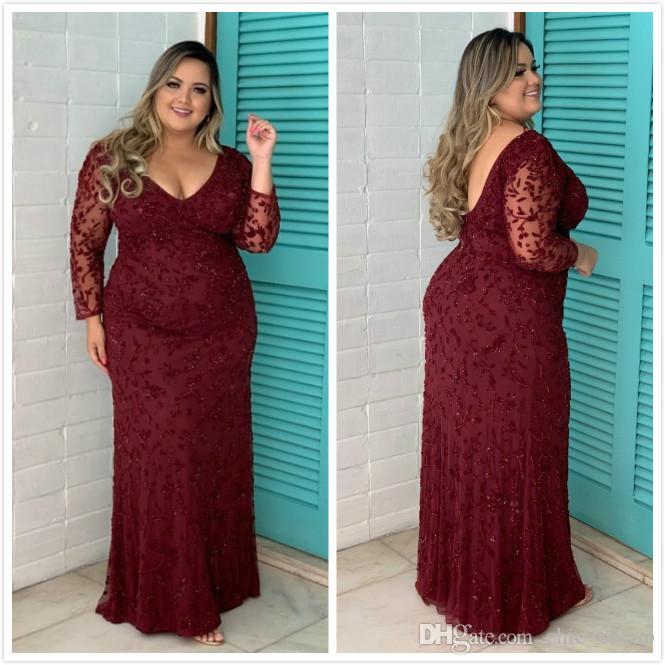 Burgundy Sheath Plus Size 2019 Arabic Vestidos de baile sin espalda Profundo escote en v Vestido de noche con cuentas Sexy Formal Party Dama de honor Vestidos del desfile
