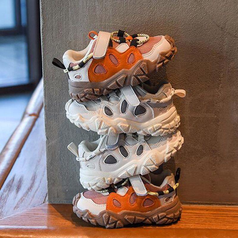 Itália Moda Biscuits Design Kids Sapatos Meninos Gancho Gancho Sapatos Respirável Ins Popular Preto + Bege + Laranja Tamanho 21-30 Bebê Primeiros Caminhantes