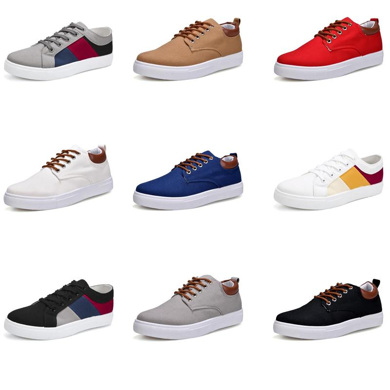Meilleur 2020 No-Marque Toile spotrs Sneakers Casual Chaussures Hommes Blanc Noir Rouge Gris Kaki Bleu Mode New Style Chaussures Taille 39-46