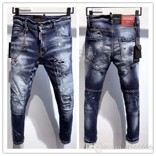 2020 nueva marca de jeans de moda de los hombres europeos y americanos ocasionales, lavado de alto grado, la molienda pura mano, la optimización de la calidad LA3601