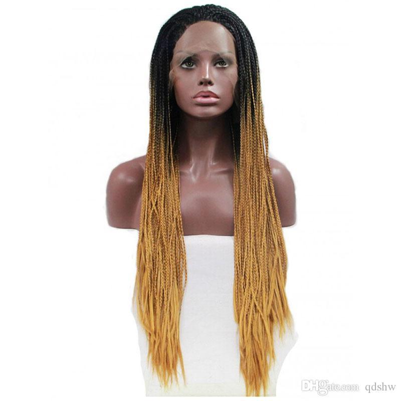 Atado Roots cuadro de trenzado de la peluca con el bebé de pelo oscuro Ombre Brown Mano a prueba de calor sintética Trenzas del frente del cordón pelucas Brown Ombre para las mujeres