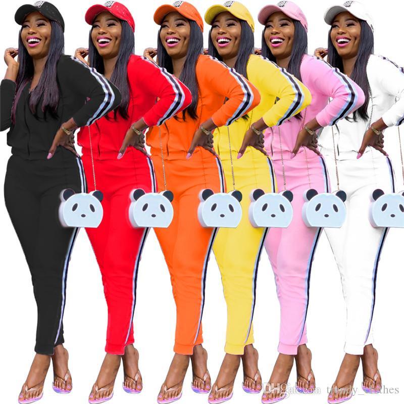 Женщины плюс размер куртка + леггинсы 2 шт. Комплект кардиган наряды брюки сплошной цвет тонкие брюки мода осень зима продают DHL 1388