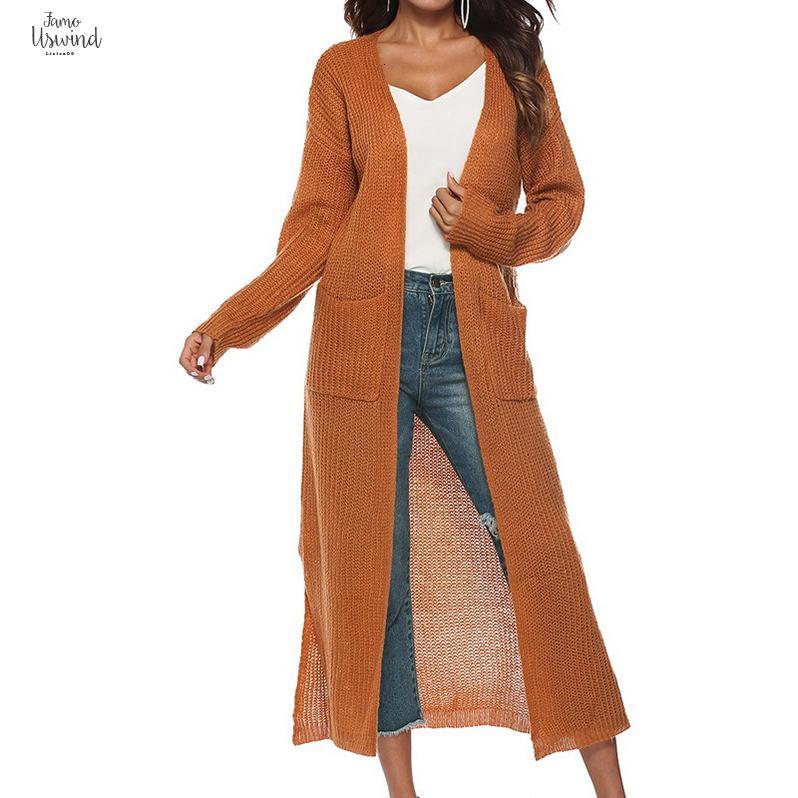 2019 새로운 봄 가을 여성 긴 소매 포켓 기모노 따뜻한 스웨터 가디건 단색 니트 겉옷 니트웨어