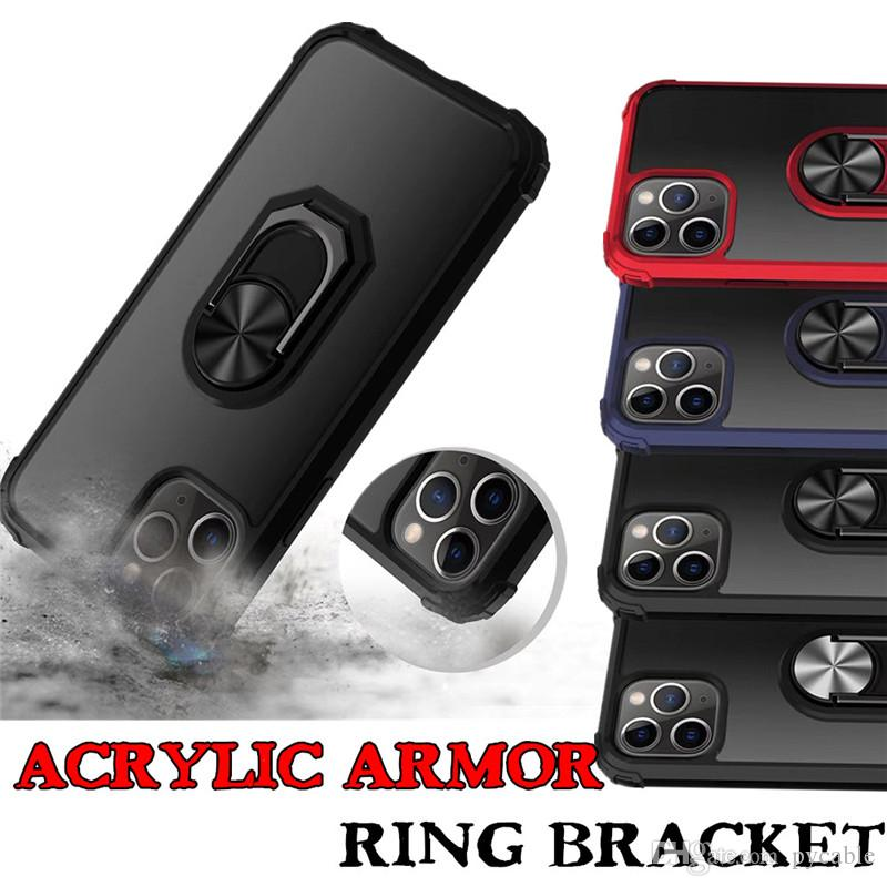 Para iPhone 11 Híbrido Armadura capa para Iphone XR X 6 7 8 Plus XS MAX Acrílico claro anel de metal suporte tampa traseira