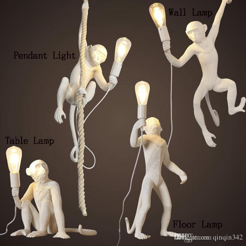 branco moderno / preto Hemp macaco pendant corda Luz Moda Simples Art Nordic Resina Seletti Macaco de suspensão Lâmpada