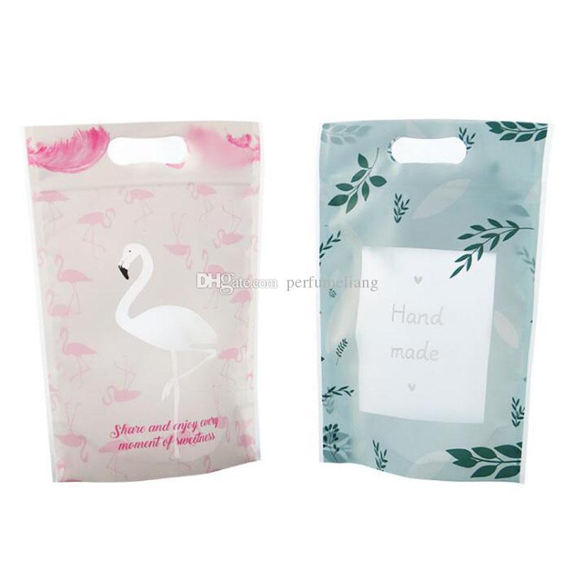 플라밍고 작은 신선한 가방 수제 비스킷 플라스틱 손잡이 도매 QW9157 가방 포장 포장 식품을 자체 밀봉
