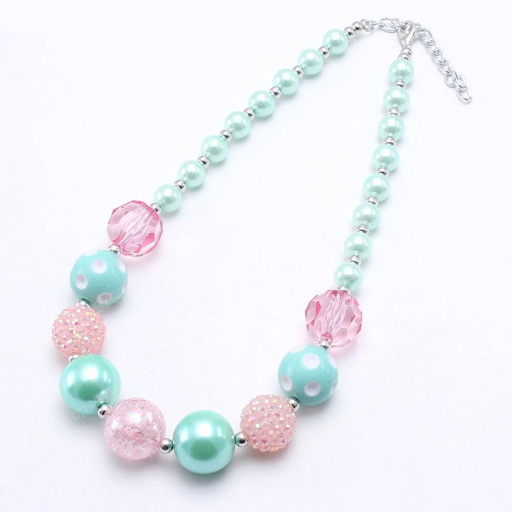 Bonito Primavera cores Bebés Meninas Chunky Beads Colar verde da hortelã / rosa das crianças das crianças frisada presente da jóia colar