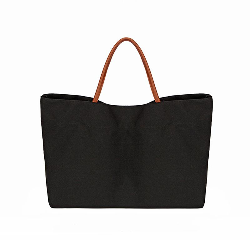 Large women tote bag canvas leisure shopping or school book carrying bag washable handbag L/S black white