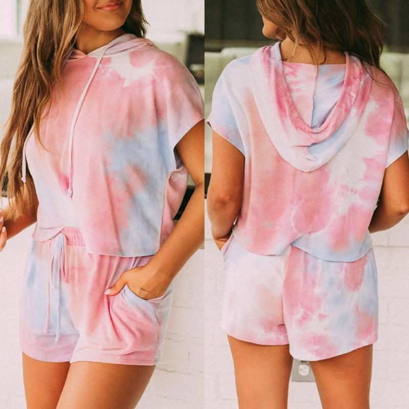 Women Set Summer Tie Dye Short Sleeve Top Shirt Loose And Biker Shorts Casual Two Piece Set New Streetwear Outfits Tracksuits