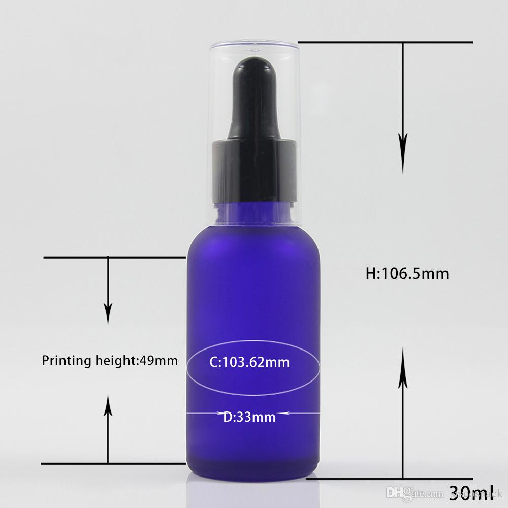1oz empty blue frosted glass essential oil dropper bottle with black silicone dropper head and clear outer plastic cover