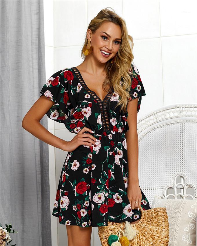 Womens Flora gedruckte Kleider Kurze Ärmel-rückenfreies Arbeiten Sie Frauen Kleider Sexy V-Ausschnitt