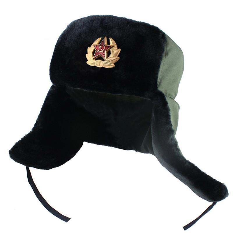 Men Winter Army Military Badge Russia Ushanka Bomber Hats Pilot Trapper Trooper Hat Faux Rabbit Fur Earflap Men Snow Caps New