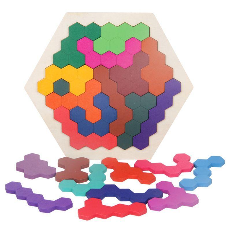 لعبة المضايقون خشبي الألغاز العقلية للبالغين أطفال، 14 جهاز كمبيوتر ملون السداسي المرح الهندسة المنطق Tangrams لغز جدول IQ لعبة مونتي