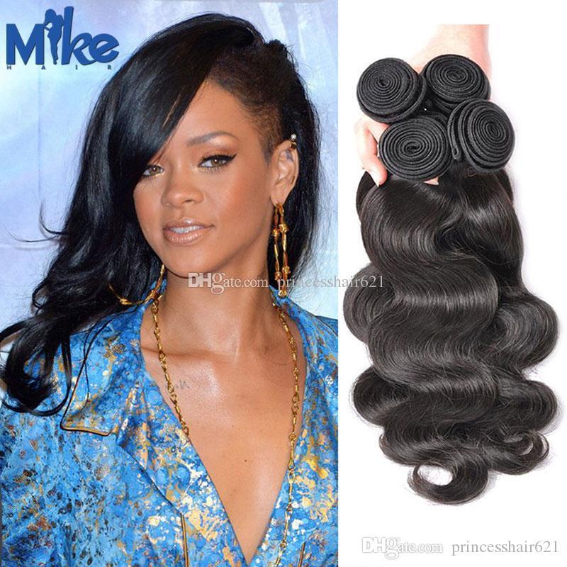 Mikehair Braziliaanse haar Body Wave Haar Weefsels 100g Dubbele Wefted # 1b Natuurlijke Kleur Onverwerkte Braziliaanse Remy Menselijk Hair Extensions 4 stks / partij