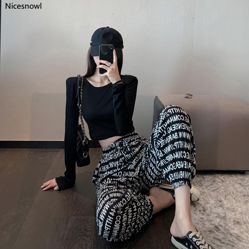 Thin off-Shoulder Sunscreen T-shirt Top Printed Letter Casual Ankle Banded Pants Two-Piece Summer Korean-Style Women's Wear Set
