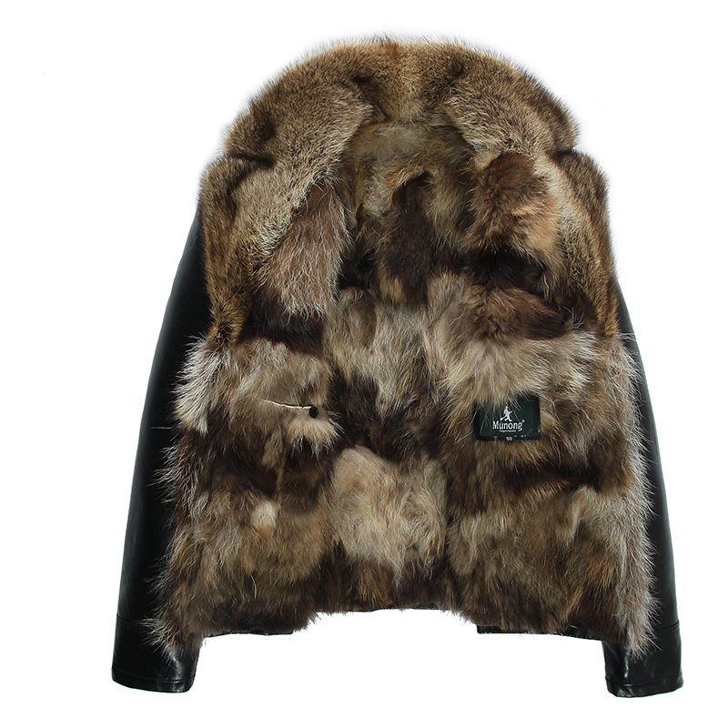 رجل جاكيتات جلدية الشتاء معاطف ريال الراكون الفراء معاطف سنو المعطف أبلى الدافئة سميكة زائد حجم 4xl 5xl جودة عالية