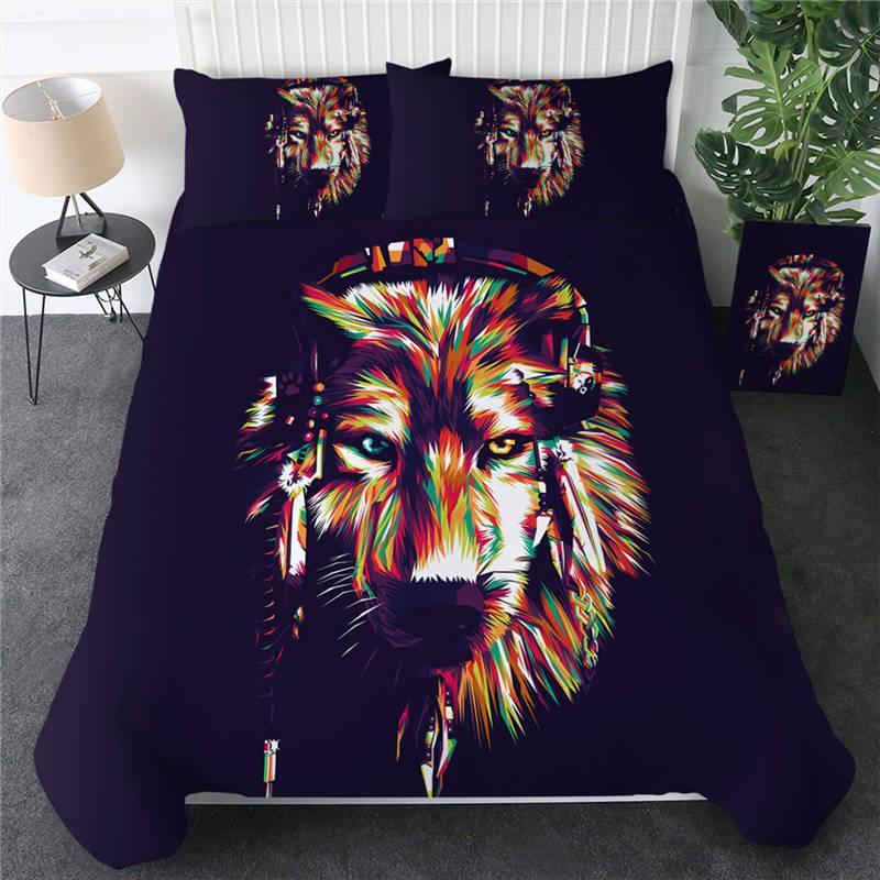Cosmic Lobo cama Set Ouvir música capa do edredon Animais capa de edredão colorida Hippie Home Textiles 3 peça
