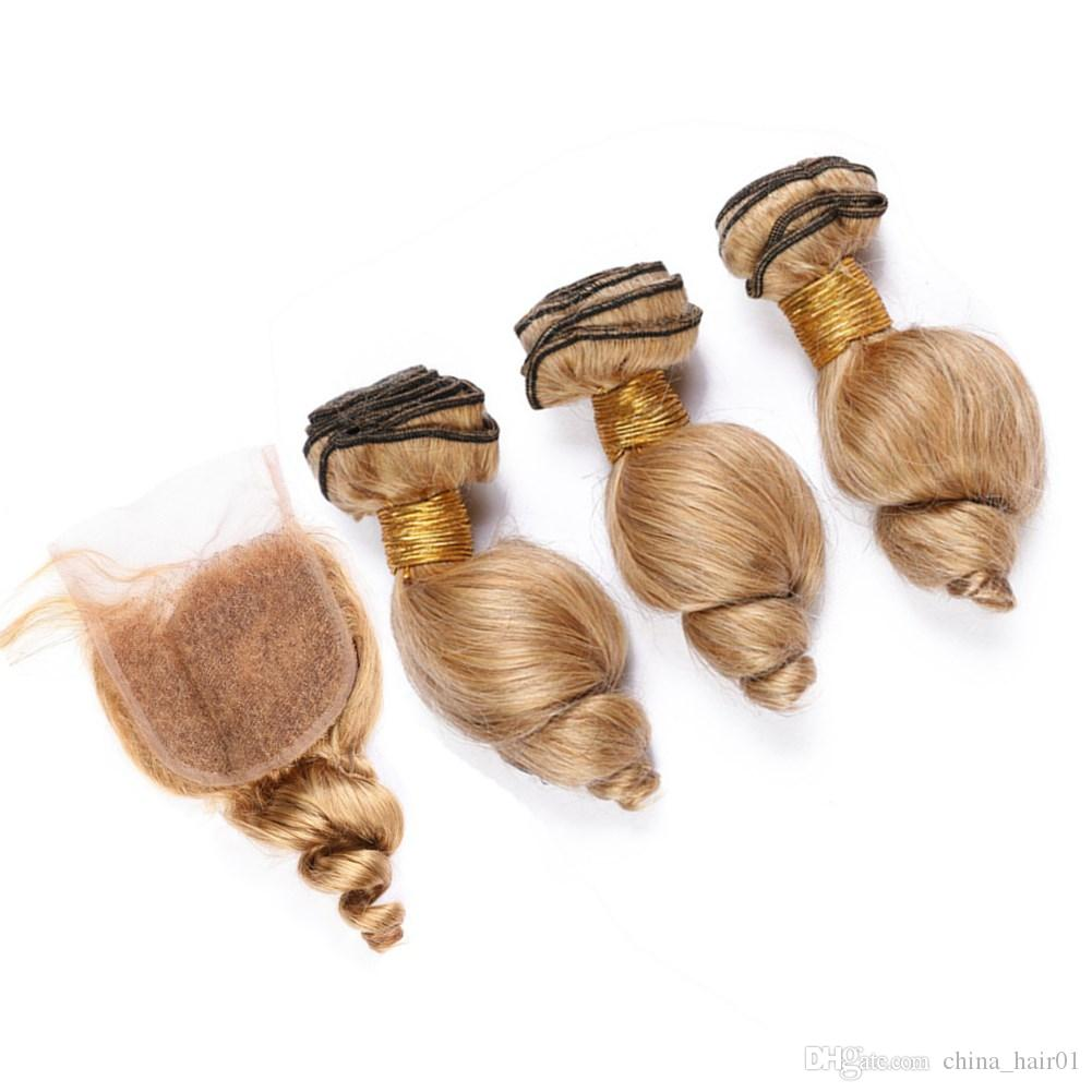 Honey Blonde Loose Wave Hair Bundles with Closure Pure 27 Light Brown Loose Wavy Malaysian Human Hair Weave Bundles with Lace Closure 4x4