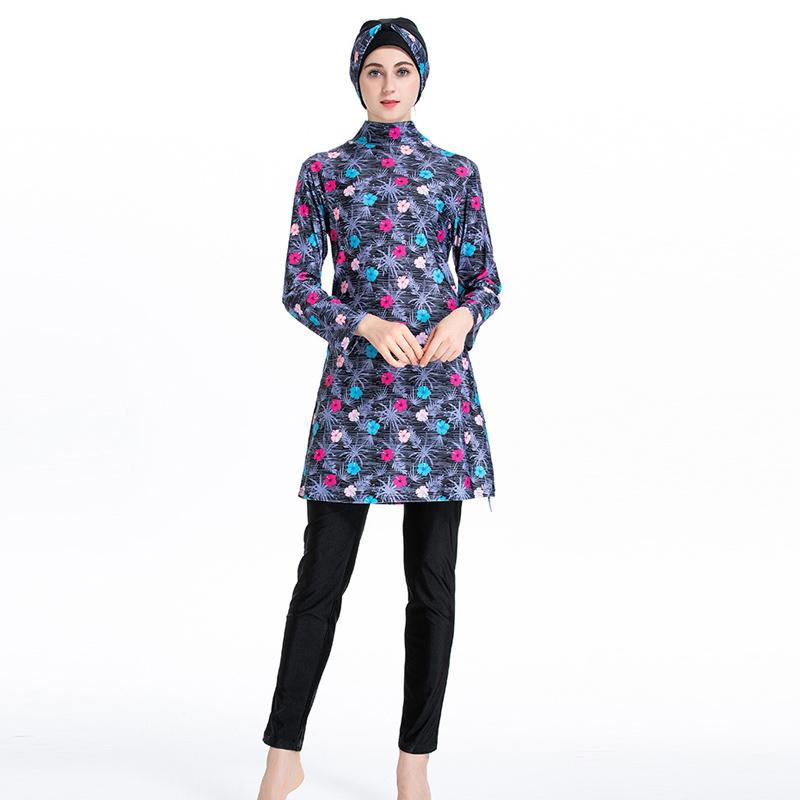 Muslim Swim Plus Size Costume Burkinis Vêtements de bain Plage Maillot de bain sport couverture complète musulmane Maillots de bain islamique Femmes modeste Hijab