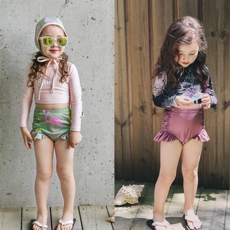 1yiQ6 swimsuitswimsuit dividir alta bonitos pequenas calças à prova de sol de manga comprida de Crianças-cobrindo a barriga e meninas médias coreana da cintura do bebê ZW3fo