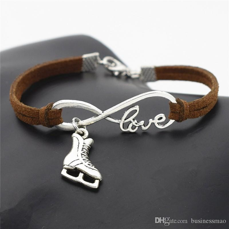 Handmade Dark Brown Leather Suede Rope Cuff Bracelets For Women Men Silver Color Infinity Love Ice Roller Skates Pendant Couple Jewelry Gift
