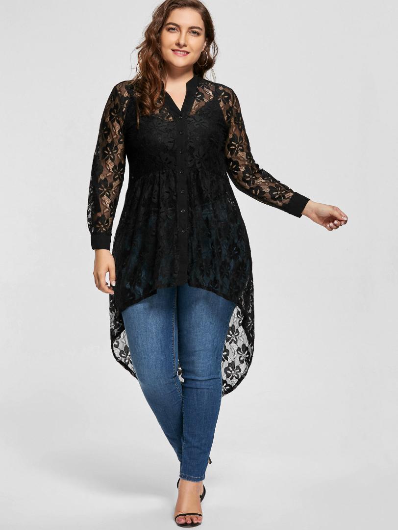 Tamaño Wipalo mujeres más la blusa de manga larga otoño peplum Alto Bajo encaje camisas de la túnica a través del botón hasta tapas de las mujeres y la blusa 5XL