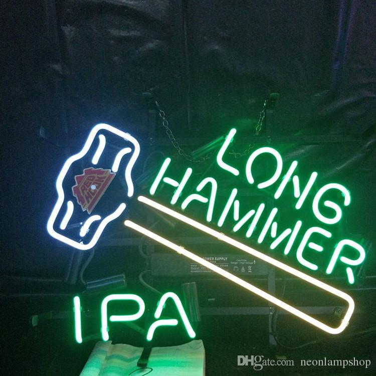 LONGO HAMMER Sinal de néon Lâmpada Publicidade Design Decoração presente Art Beer quadro de mostrar real vidro Neon Light metal 17 '' 24 '' 30''40 ''