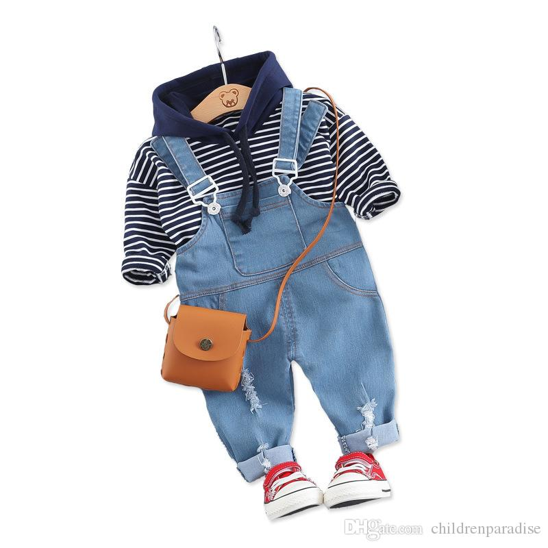 2019 Primavera Autunno Neonate Ragazzi Set di abbigliamento Vestiti per bambini piccoli Abiti T-shirt con cappuccio T-shirt Bavaglino Costume per bambini