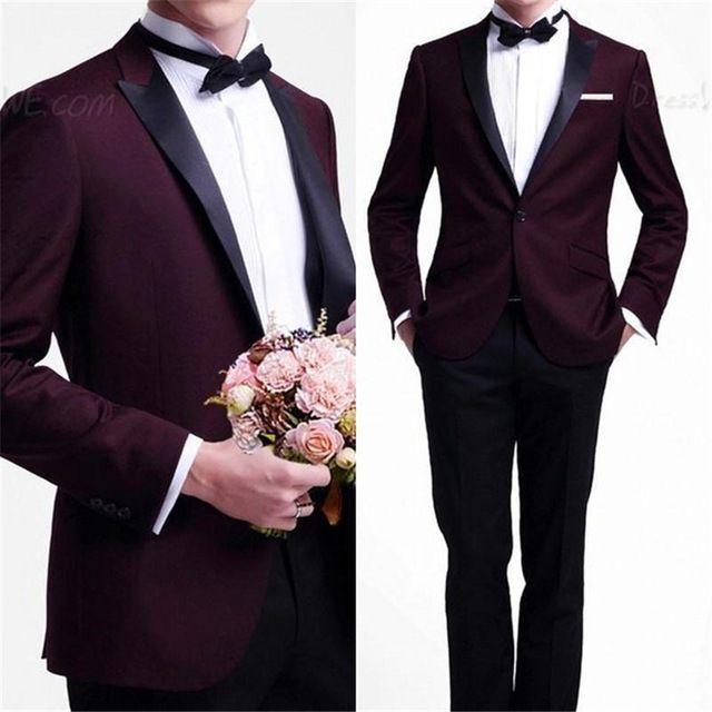 Burgundy Jacket Black Pants Men Suit For Wedding 2Pieces(Jacket+Pant+Tie) Groom Terno Masculino Trajes De Hombre Blazer
