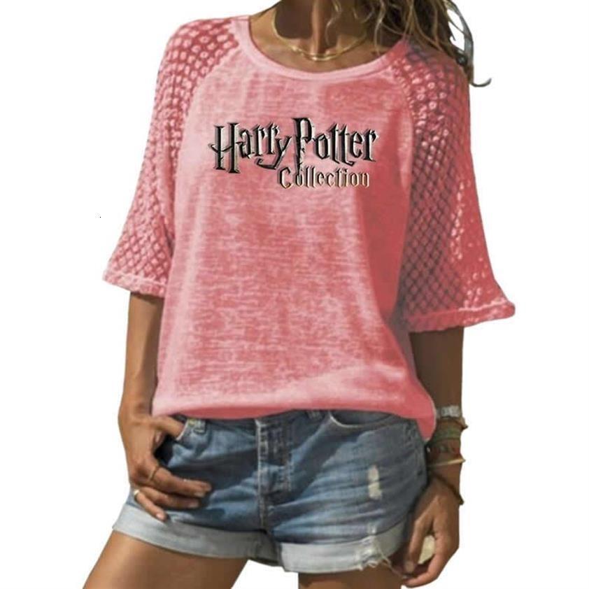 2019 Mode T-shirt pour Womenharry Potter Lettres Printlace ras du cou T-shirt Taille Plus T-Shirt Femme Femme Top Punk recadrée