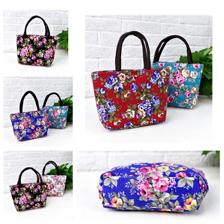 hot 2020 5style mão única étnica Bolsa De Lona Bolsa Flor Mulheres Sacos de compras portáteis reutilizáveis sacos de almoço T2D5066