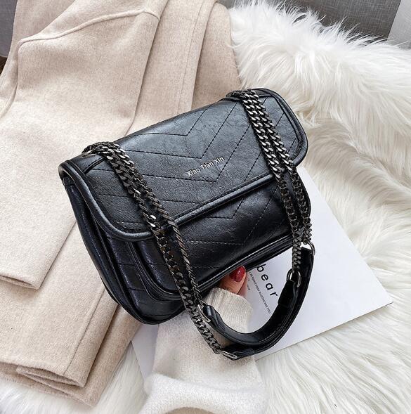 Ins Best Selling Mulheres cadeia handbag grande capacidade de um ombro Sacos PU Crossbosy Messenger Bag